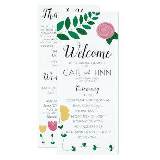 花のColorblockの結婚式プログラム カード