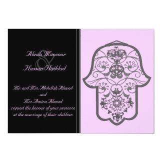 花のHamsa (オリジナル) (結婚式) 12.7 X 17.8 インビテーションカード