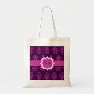 花のHamsa (ピンク) (結婚式) トートバッグ
