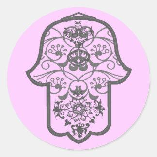 花のHamsa ラウンドシール