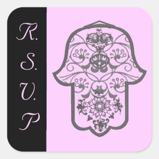 花のHamsa (結婚式) スクエアシール