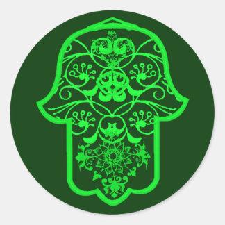 花のHamsa (緑) ラウンドシール