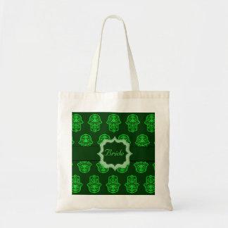 花のHamsa (緑) (結婚式) トートバッグ