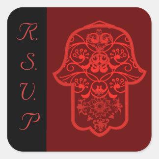 花のHamsa (赤い) (結婚式) スクエアシール
