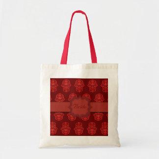 花のHamsa (赤い) (結婚式) トートバッグ