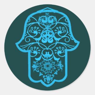 花のHamsa (青い) ラウンドシール