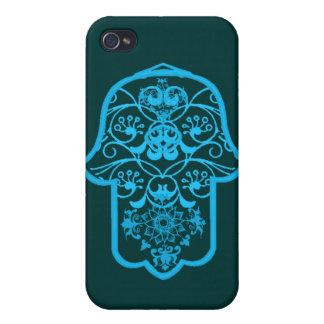 花のHamsa (青い) iPhone 4/4Sケース
