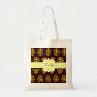 花のHamsa (黄色) (結婚式) トートバッグ