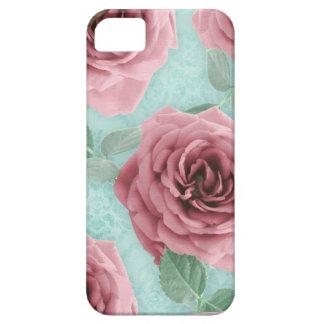花のiPhone 5の場合のばら色の花のピンクのミント iPhone SE/5/5s ケース