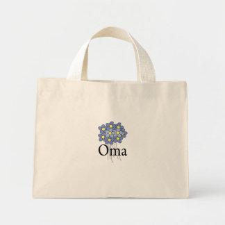 花のOmaのかわいらしく青いTシャツ ミニトートバッグ