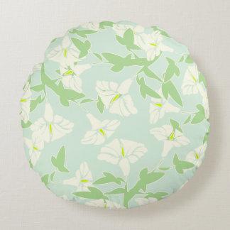 花のSeafoamの緑の白くおよび黄色の枕 ラウンドクッション