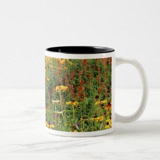 花は国際的な平和庭で表示します ツートーンマグカップ