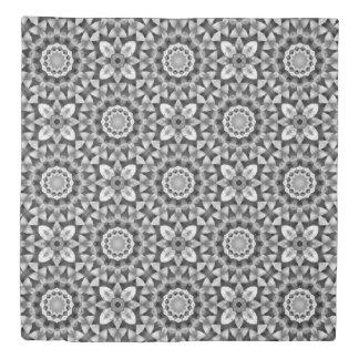 花は、白および灰色または灰色、mandal花黒くします 掛け布団カバー
