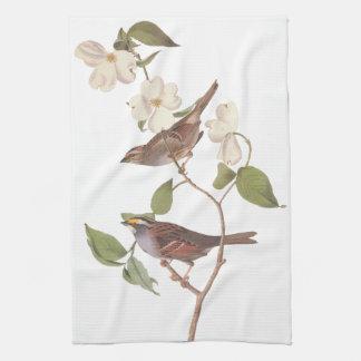 花を持つすずめのAudubonの白いThroated鳥 キッチンタオル