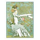 花を持つアールヌーボーのグレイハウンドそして女性 ポストカード