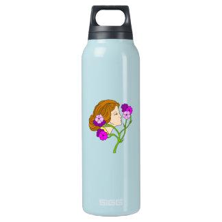 花を持つアールヌーボーの美しい女性 断熱ウォーターボトル