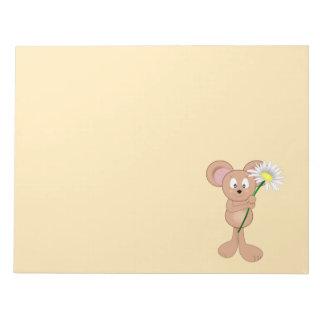 花を持つマウス ノートパッド