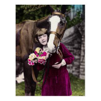 花を持つ女の子 ポストカード