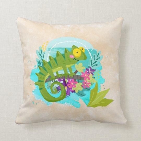 花を持つ熱帯トカゲ クッション