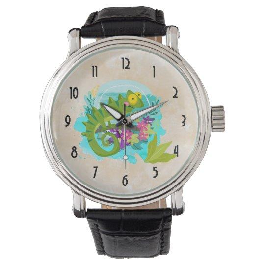 花を持つ熱帯トカゲ 腕時計