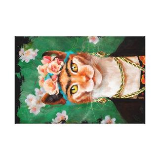 花を持つ猫Frida キャンバスプリント