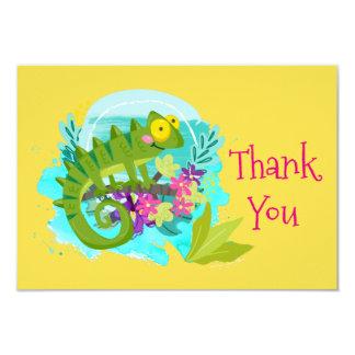 花を持つ緑の熱帯トカゲは感謝していしています 8.9 X 12.7 インビテーションカード