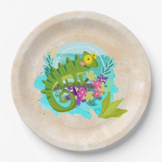 花を持つ緑の熱帯トカゲ ペーパープレート