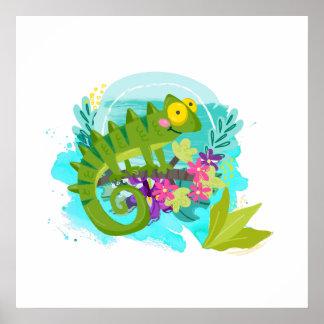 花を持つ緑の熱帯トカゲ ポスター
