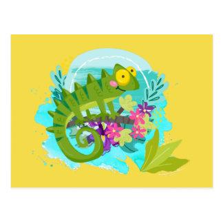 花を持つ緑の熱帯トカゲ ポストカード