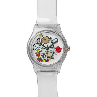 花を持つ腕時計牛 腕時計