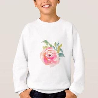 花エレガントなピンクの水彩画のバラ スウェットシャツ