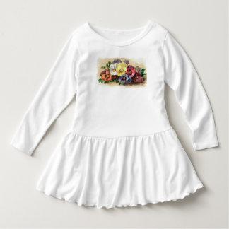 花カラフルなヴィンテージのパンジー ドレス