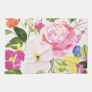 花カラフルな水彩画の春の開花 キッチンタオル