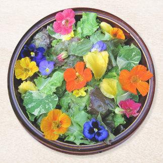 花サラダパーティのコースター ラウンドペーパーコースター