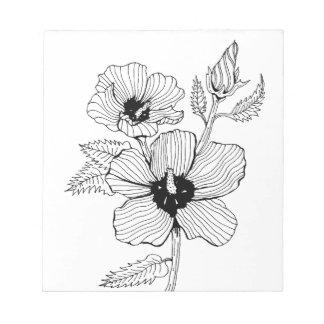 花ハイビスカスのムクゲ ノートパッド