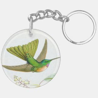 花ハチドリの鳥の野性生物動物の花 キーホルダー