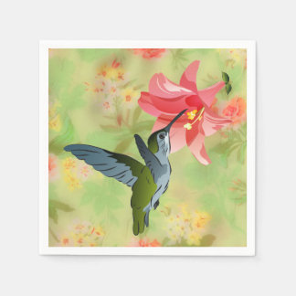花パターンのハチドリそしてピンクユリ スタンダードカクテルナプキン