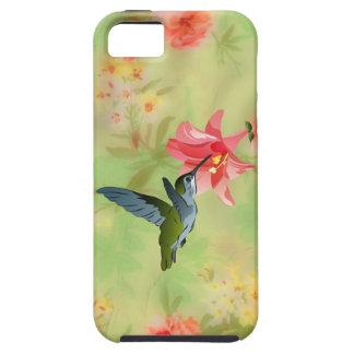 花パターンのハチドリそしてピンクユリ iPhone SE/5/5s ケース