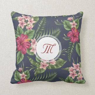 花パターンハイビスカスのモノグラムの枕 クッション