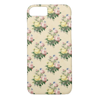 花パターンヴィンテージのばら色の花の電話箱 iPhone 8/7ケース