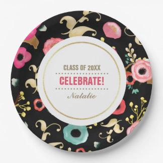花パターン卒業パーティーのカスタムな紙皿 ペーパープレート