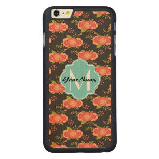 花パターン習慣のモノグラム CarvedメープルiPhone 6 PLUS スリムケース