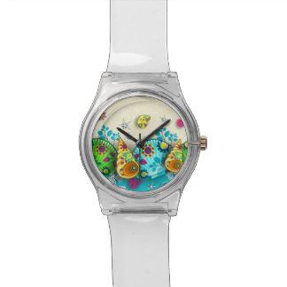 花パターン貝 腕時計