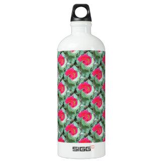 花パターン、ピンクおよび緑 ウォーターボトル
