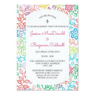 花パターン-婚約パーティの招待状 カード