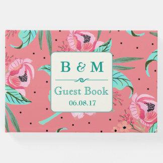 花パターン-珊瑚のピンクの名前入りなゲストブック ゲストブック