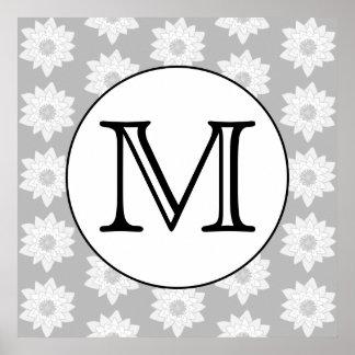 花パターン、白黒カスタムなモノグラム ポスター