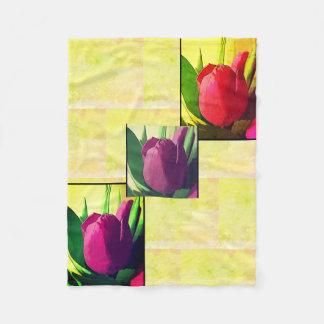 花パターン-紫色および黄色のフリースブランケット フリースブランケット