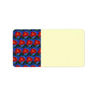 花パターン。 赤いケシの花が付いている青 ラベル