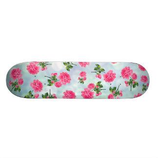 花パターン: 青い《写真》ぼけ味のピンクの花 スケートボード
